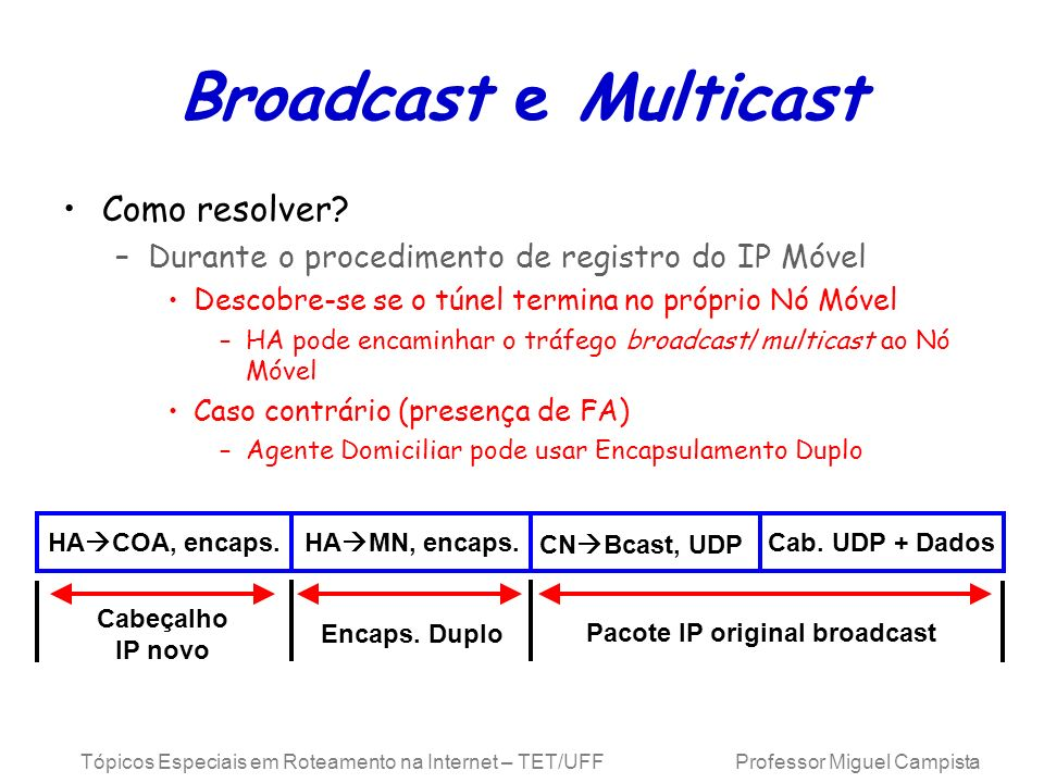 Broadcast e Multicast Como resolver