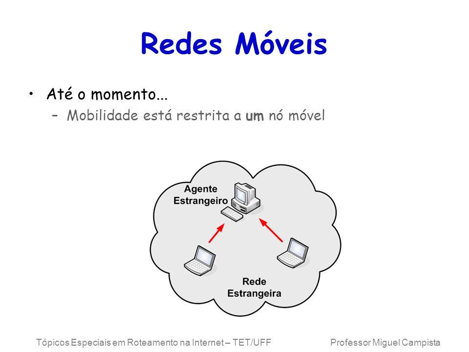 Redes Móveis Até o momento... Mobilidade está restrita a um nó móvel