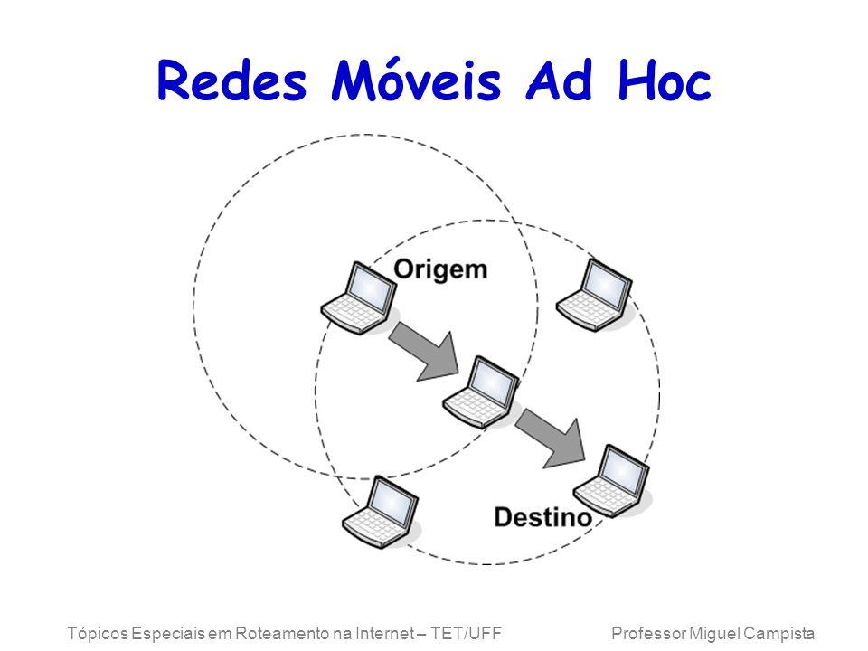 Redes Móveis Ad Hoc Tópicos Especiais em Roteamento na Internet – TET/UFF Professor Miguel Campista.