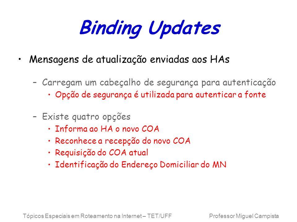 Binding Updates Mensagens de atualização enviadas aos HAs