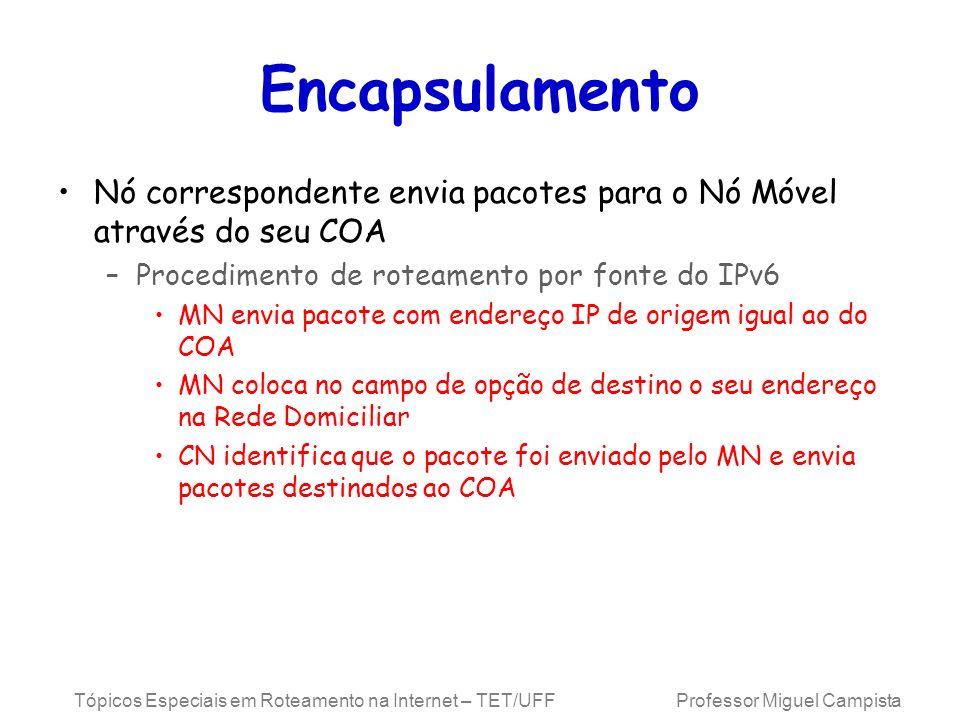 Encapsulamento Nó correspondente envia pacotes para o Nó Móvel através do seu COA. Procedimento de roteamento por fonte do IPv6.