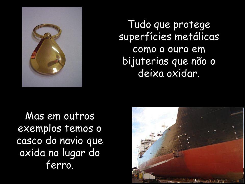 Tudo que protege superfícies metálicas como o ouro em bijuterias que não o deixa oxidar.