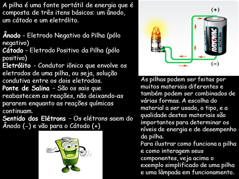 A pilha é uma fonte portátil de energia que é composta de três itens básicos: um ânodo, um cátodo e um eletrólito. Ânodo - Eletrodo Negativo da Pilha (pólo negativo) Cátodo - Eletrodo Positivo da Pilha (pólo positivo) Eletrólito - Condutor iônico que envolve os eletrodos de uma pilha, ou seja, solução condutiva entre os dois eletrodos.