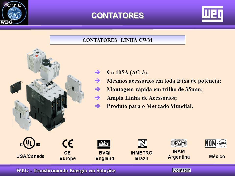 CONTATORES CONTATORES LINHA CWM. 9 a 105A (AC-3); Mesmos acessórios em toda faixa de potência; Montagem rápida em trilho de 35mm;