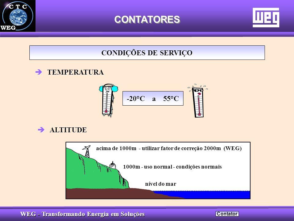 CONTATORES CONDIÇÕES DE SERVIÇO TEMPERATURA -20°C a 55°C ALTITUDE