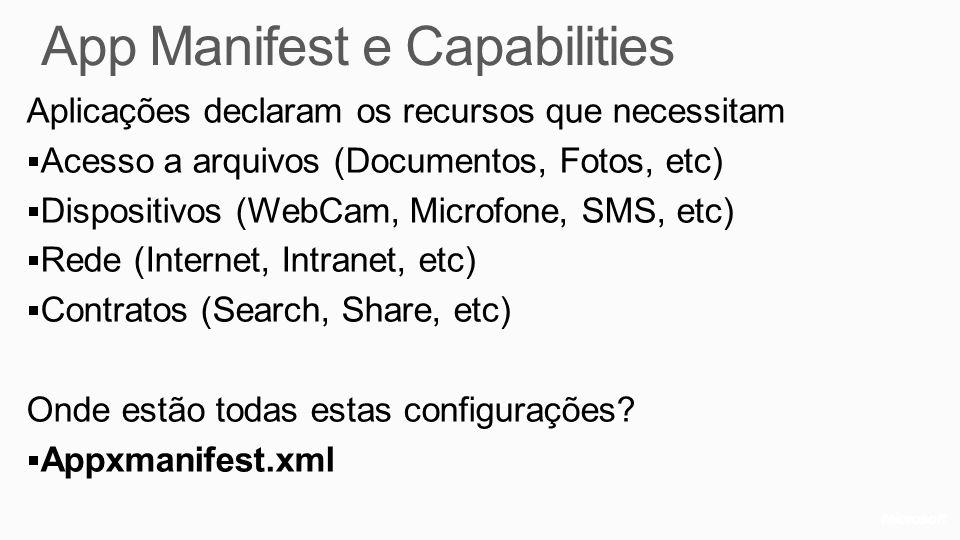 App Manifest e Capabilities