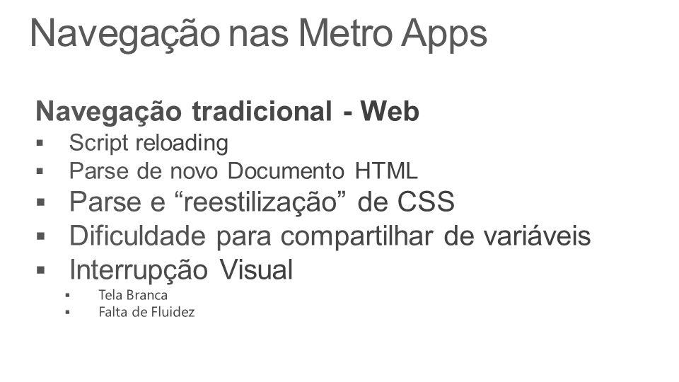 Navegação nas Metro Apps