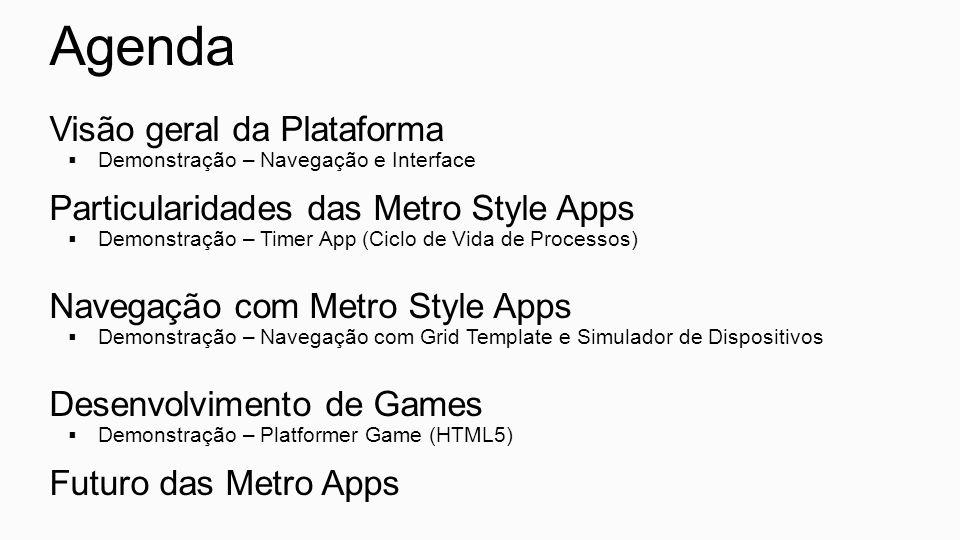 Agenda Visão geral da Plataforma Particularidades das Metro Style Apps
