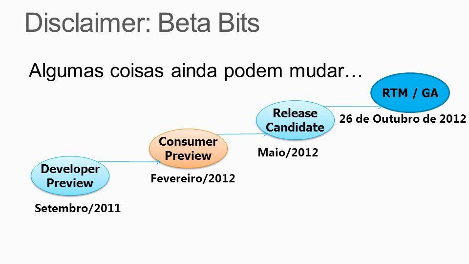 Disclaimer: Beta Bits Algumas coisas ainda podem mudar… RTM / GA