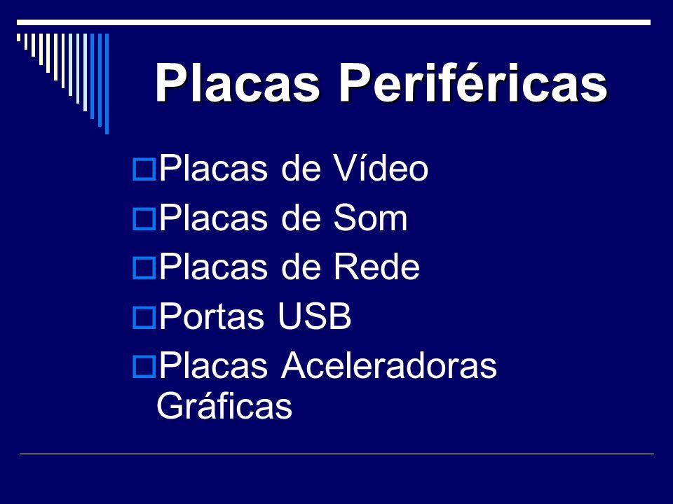 Placas Periféricas Placas de Vídeo Placas de Som Placas de Rede