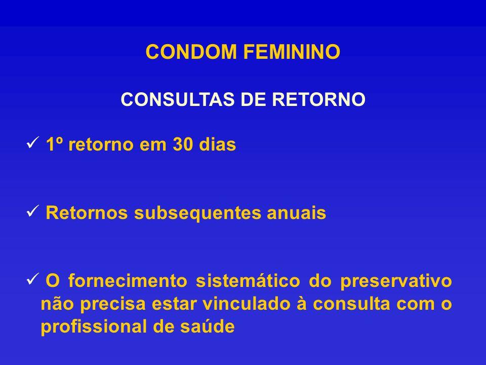 CONDOM FEMININO CONSULTAS DE RETORNO 1º retorno em 30 dias