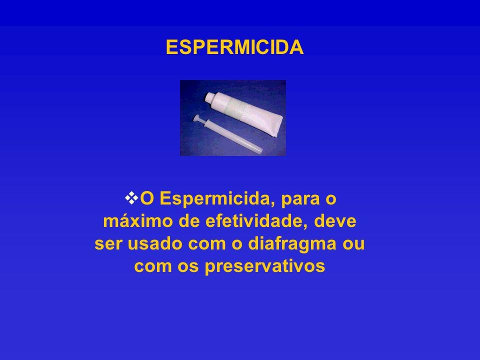 ESPERMICIDA O Espermicida, para o máximo de efetividade, deve ser usado com o diafragma ou com os preservativos.