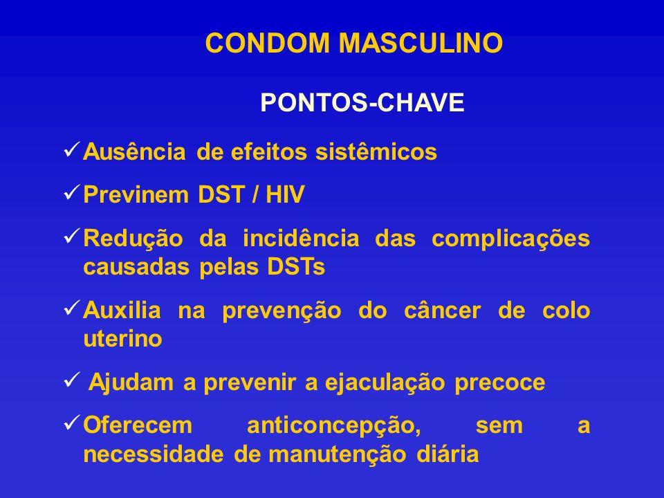 CONDOM MASCULINO PONTOS-CHAVE Ausência de efeitos sistêmicos