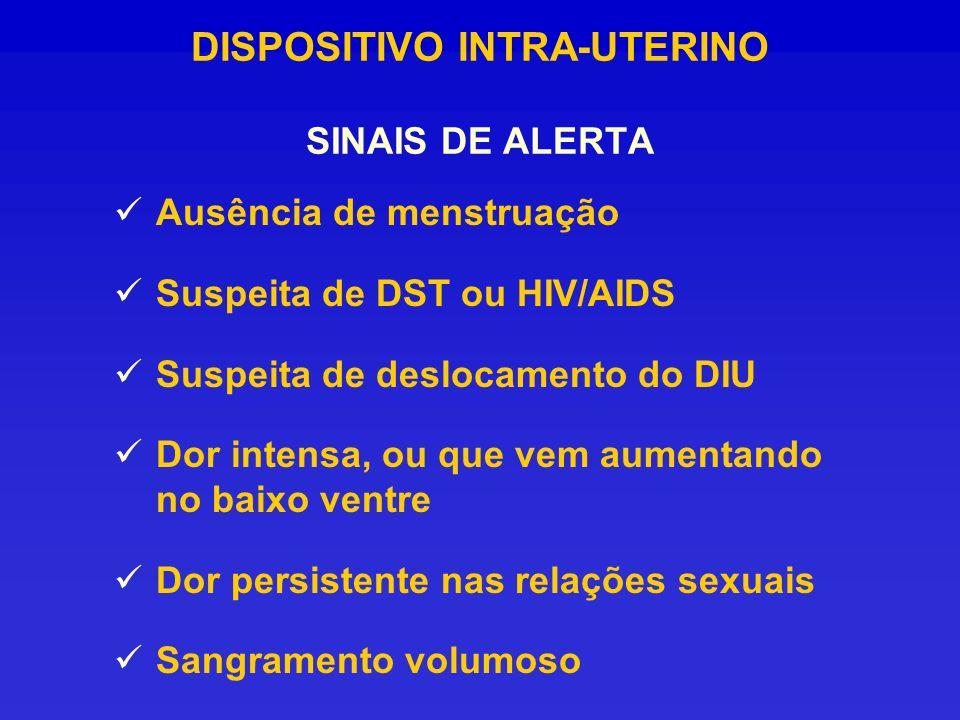 DISPOSITIVO INTRA-UTERINO SINAIS DE ALERTA