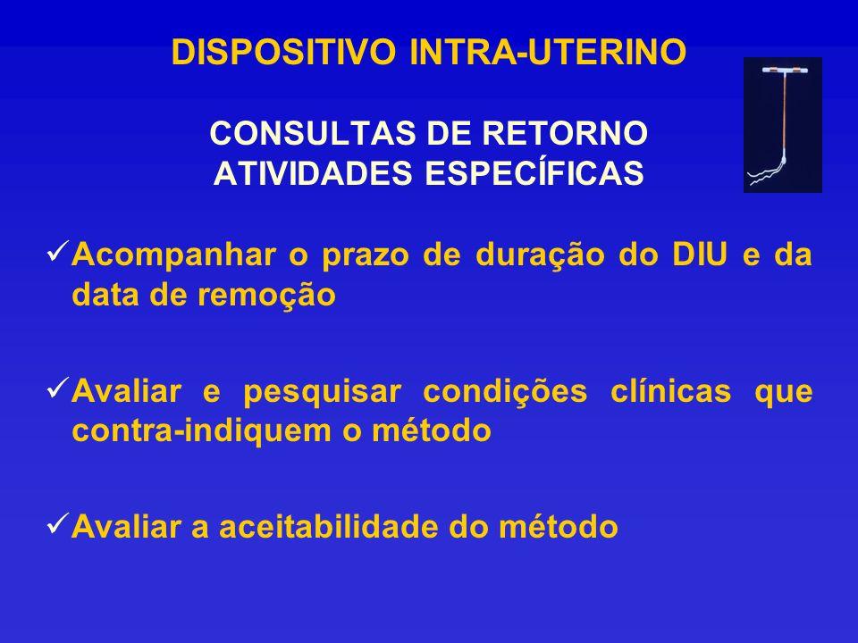 DISPOSITIVO INTRA-UTERINO CONSULTAS DE RETORNO ATIVIDADES ESPECÍFICAS