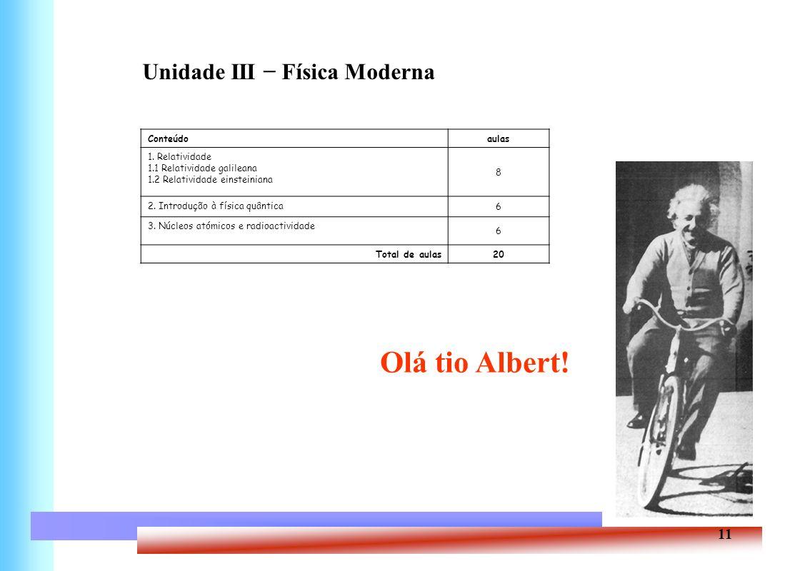 Olá tio Albert! Unidade III − Física Moderna Conteúdo aulas