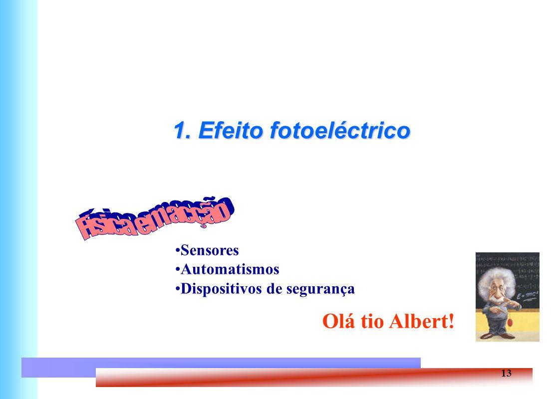 Física em acção 1. Efeito fotoeléctrico Olá tio Albert! Sensores