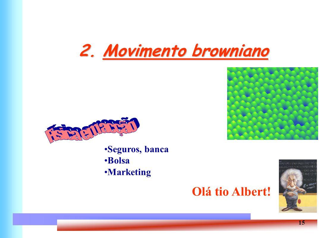 2. Movimento browniano Física em acção Olá tio Albert! Seguros, banca