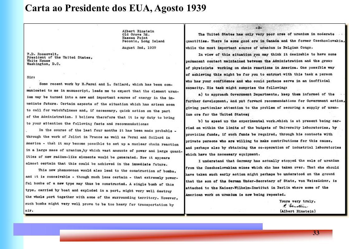 Carta ao Presidente dos EUA, Agosto 1939