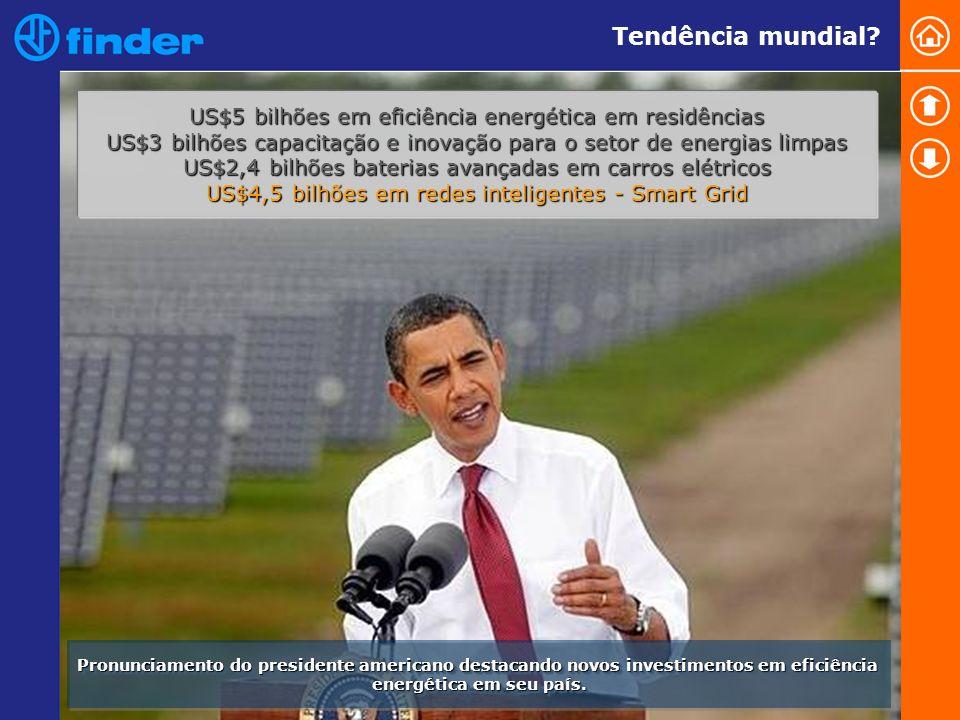 Tendência mundial US$5 bilhões em eficiência energética em residências. US$3 bilhões capacitação e inovação para o setor de energias limpas.