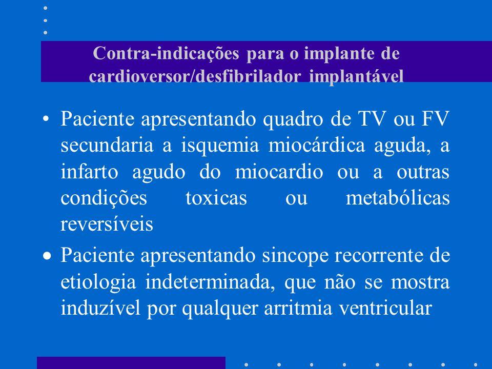 Contra-indicações para o implante de cardioversor/desfibrilador implantável