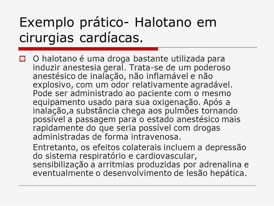 Exemplo prático- Halotano em cirurgias cardíacas.