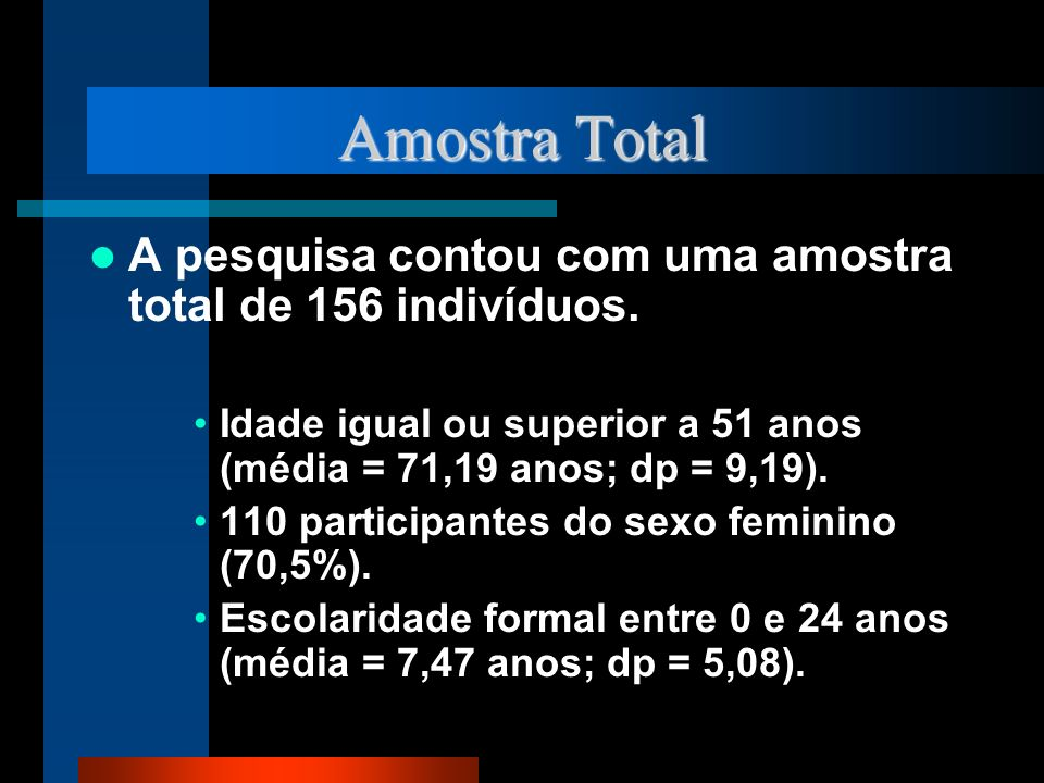 Amostra Total A pesquisa contou com uma amostra total de 156 indivíduos. Idade igual ou superior a 51 anos (média = 71,19 anos; dp = 9,19).