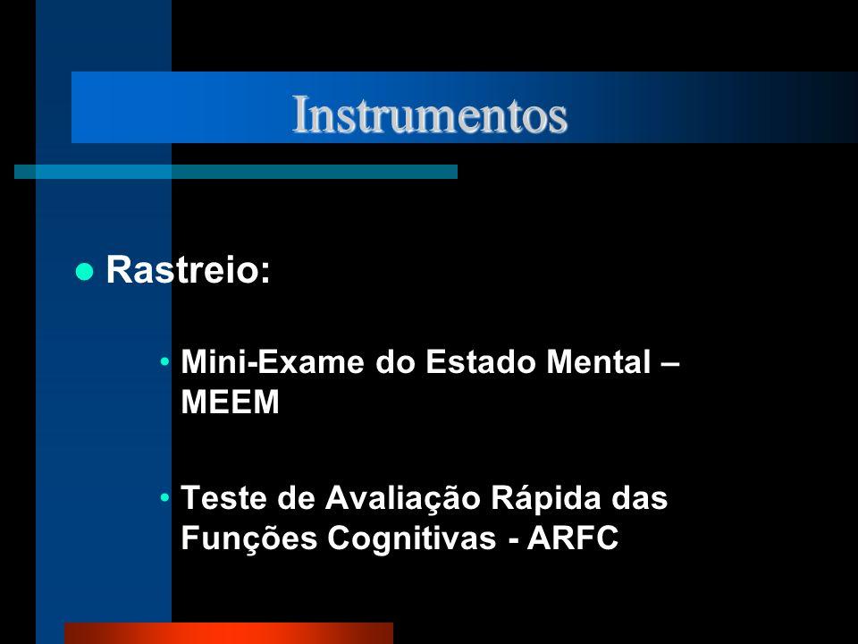 Instrumentos Rastreio: Mini-Exame do Estado Mental – MEEM