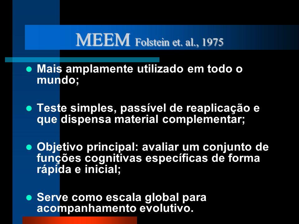MEEM Folstein et. al., 1975 Mais amplamente utilizado em todo o mundo;