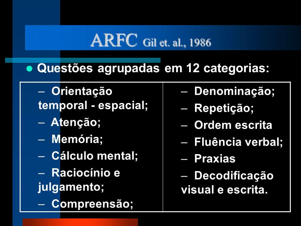 ARFC Gil et. al., 1986 Questões agrupadas em 12 categorias: