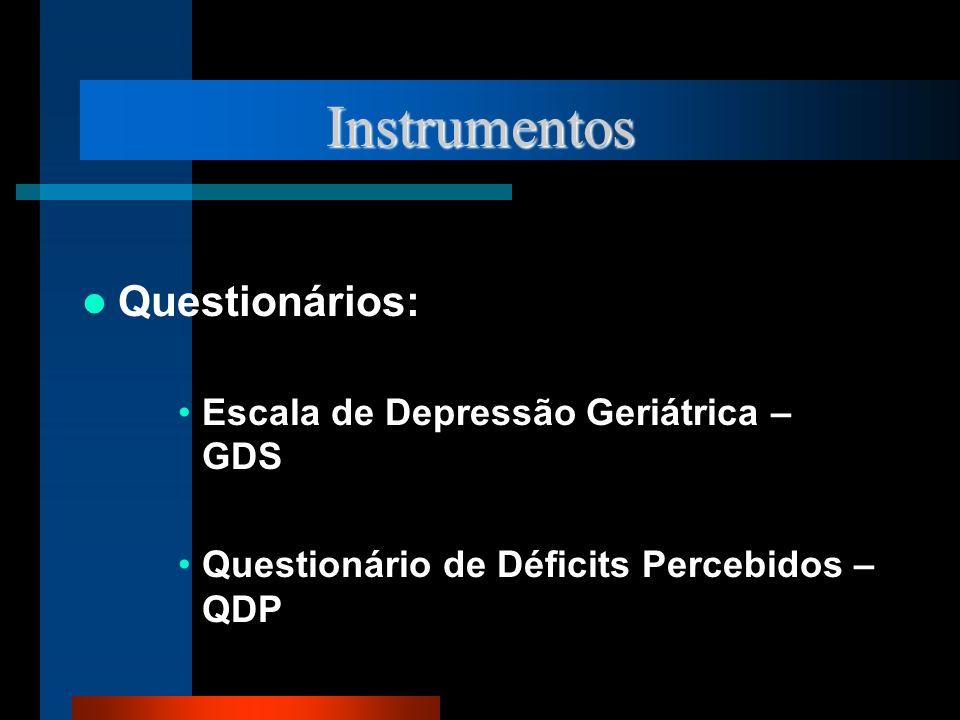 Instrumentos Questionários: Escala de Depressão Geriátrica – GDS