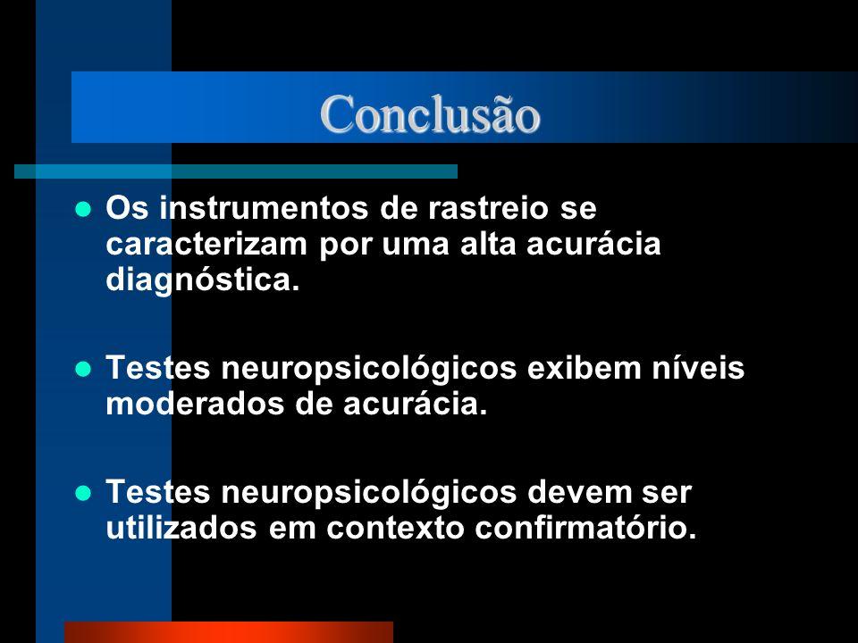 Conclusão Os instrumentos de rastreio se caracterizam por uma alta acurácia diagnóstica.