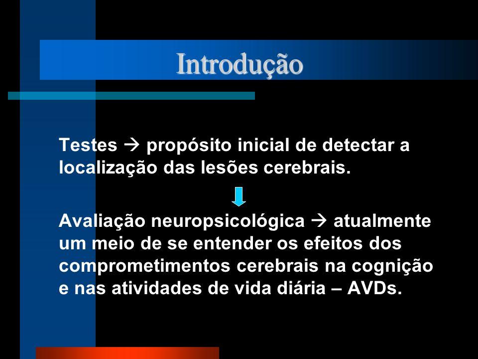 Introdução Testes  propósito inicial de detectar a localização das lesões cerebrais.
