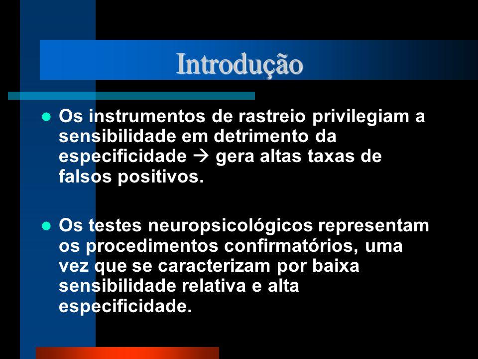 Introdução Os instrumentos de rastreio privilegiam a sensibilidade em detrimento da especificidade  gera altas taxas de falsos positivos.