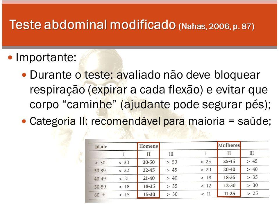 Teste abdominal modificado (Nahas, 2006, p. 87)