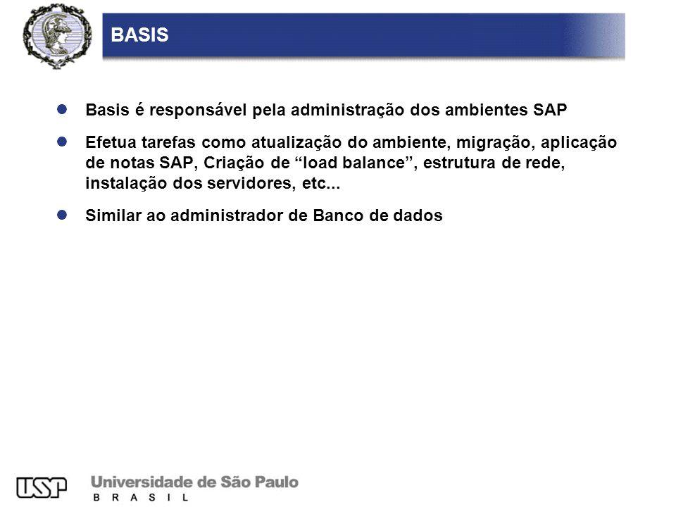 BASIS Basis é responsável pela administração dos ambientes SAP