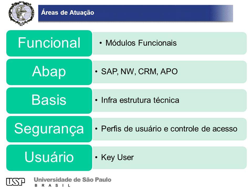 Módulos Funcionais Áreas de Atuação Funcional Abap SAP, NW, CRM, APO