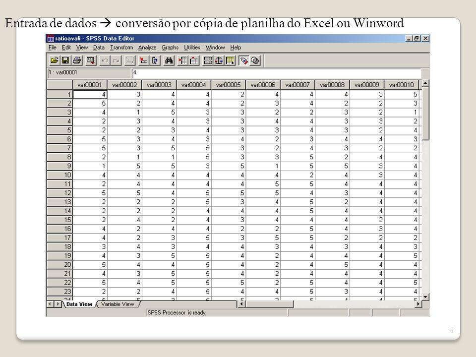 Entrada de dados  conversão por cópia de planilha do Excel ou Winword