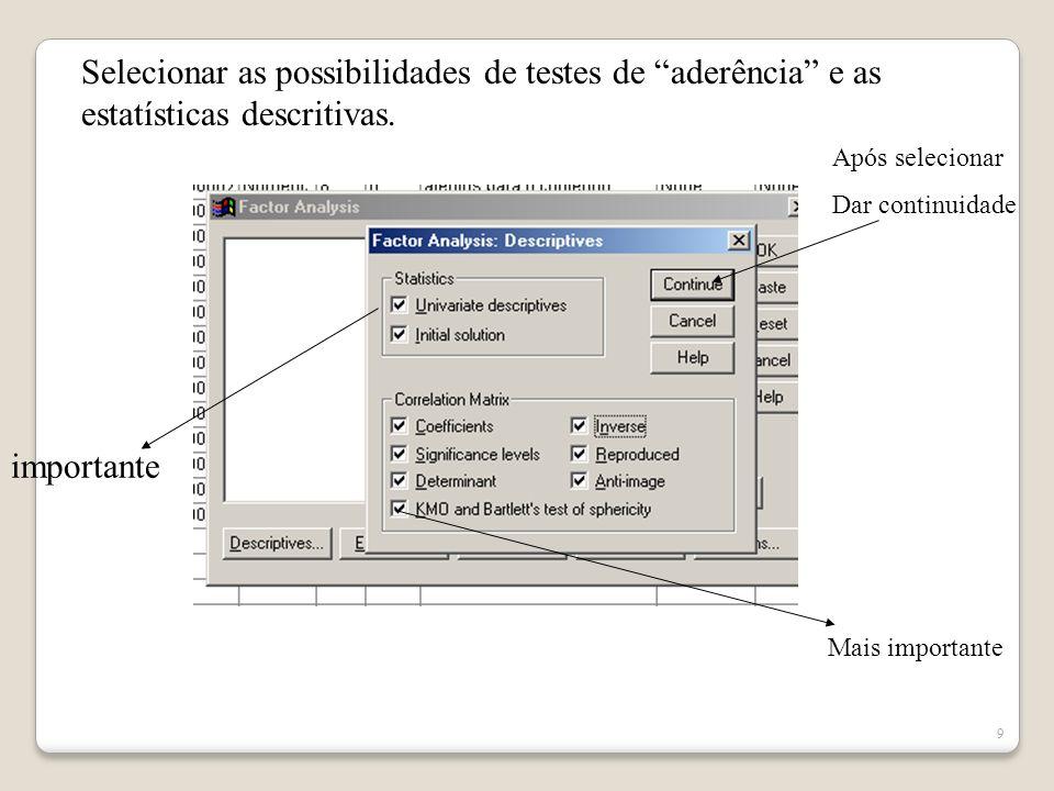 Selecionar as possibilidades de testes de aderência e as estatísticas descritivas.
