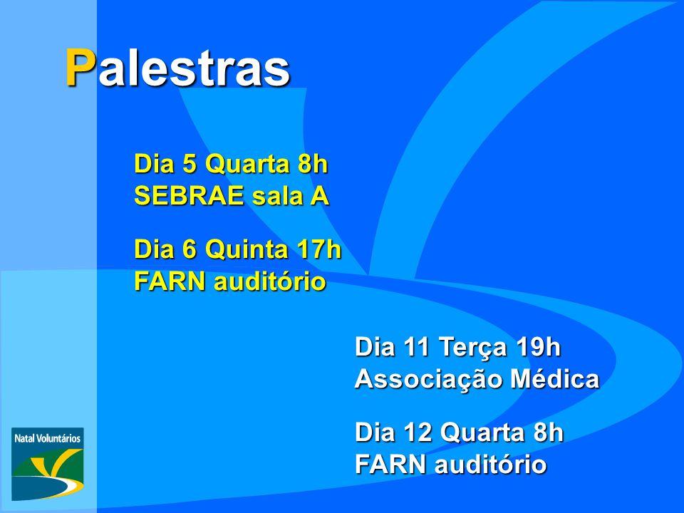 Palestras Dia 5 Quarta 8h SEBRAE sala A Dia 6 Quinta 17h