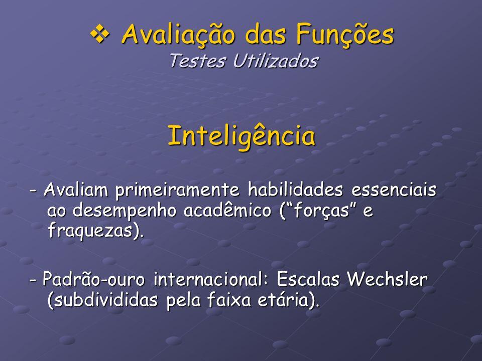 Avaliação das Funções Testes Utilizados
