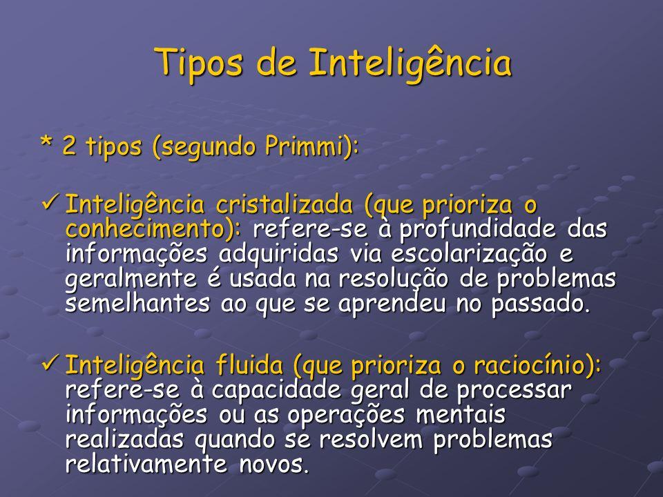 Tipos de Inteligência * 2 tipos (segundo Primmi):