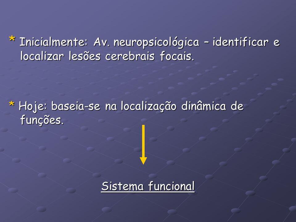 * Inicialmente: Av. neuropsicológica – identificar e localizar lesões cerebrais focais.