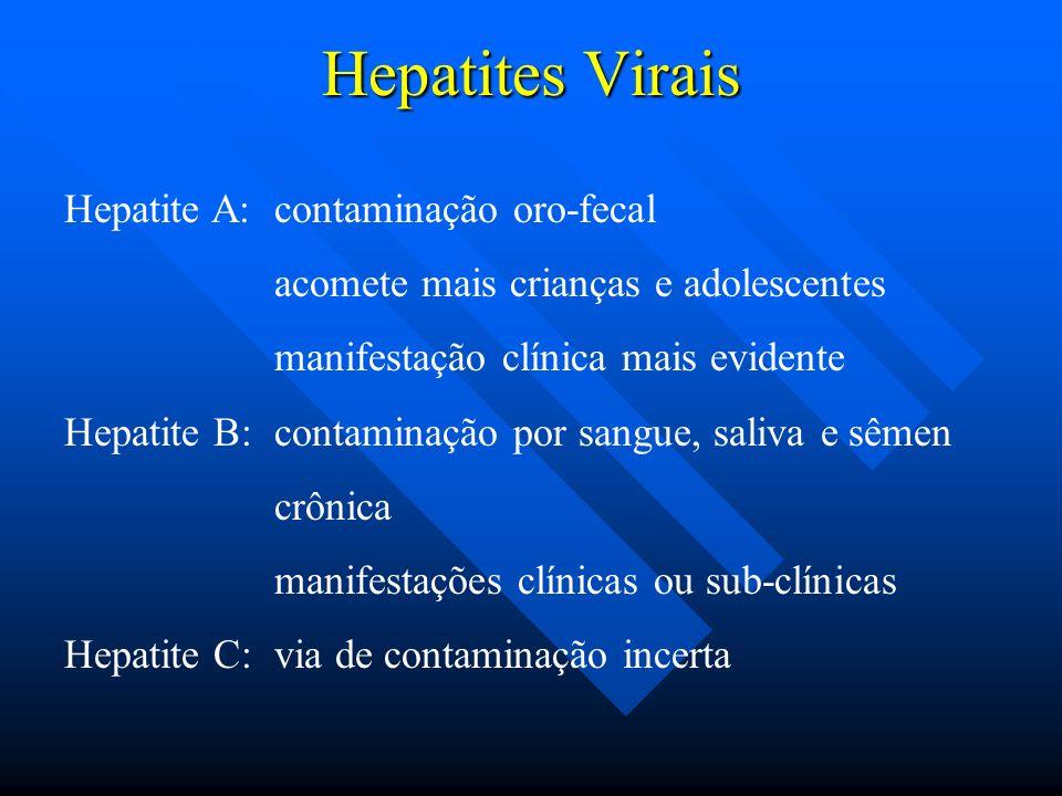 Hepatites Virais Hepatite A: contaminação oro-fecal