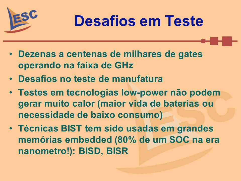 Desafios em Teste Dezenas a centenas de milhares de gates operando na faixa de GHz. Desafios no teste de manufatura.