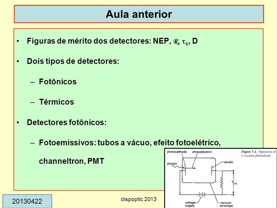 Aula anterior Figuras de mérito dos detectores: NEP, R, tc, D