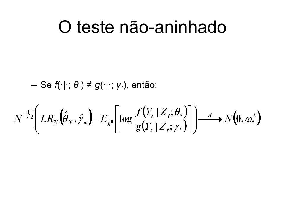 O teste não-aninhado Se f(·|·; θ*) ≠ g(·|·; γ*), então: