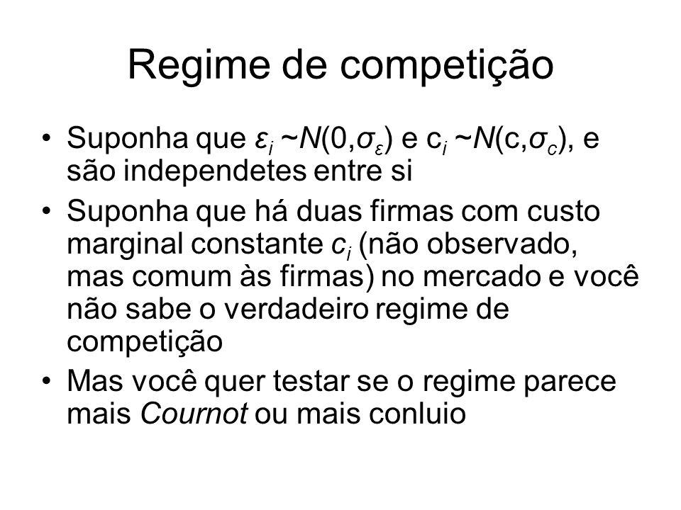 Regime de competição Suponha que εi ~N(0,σε) e ci ~N(c,σc), e são independetes entre si.