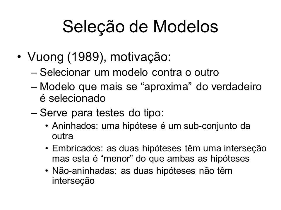 Seleção de Modelos Vuong (1989), motivação: