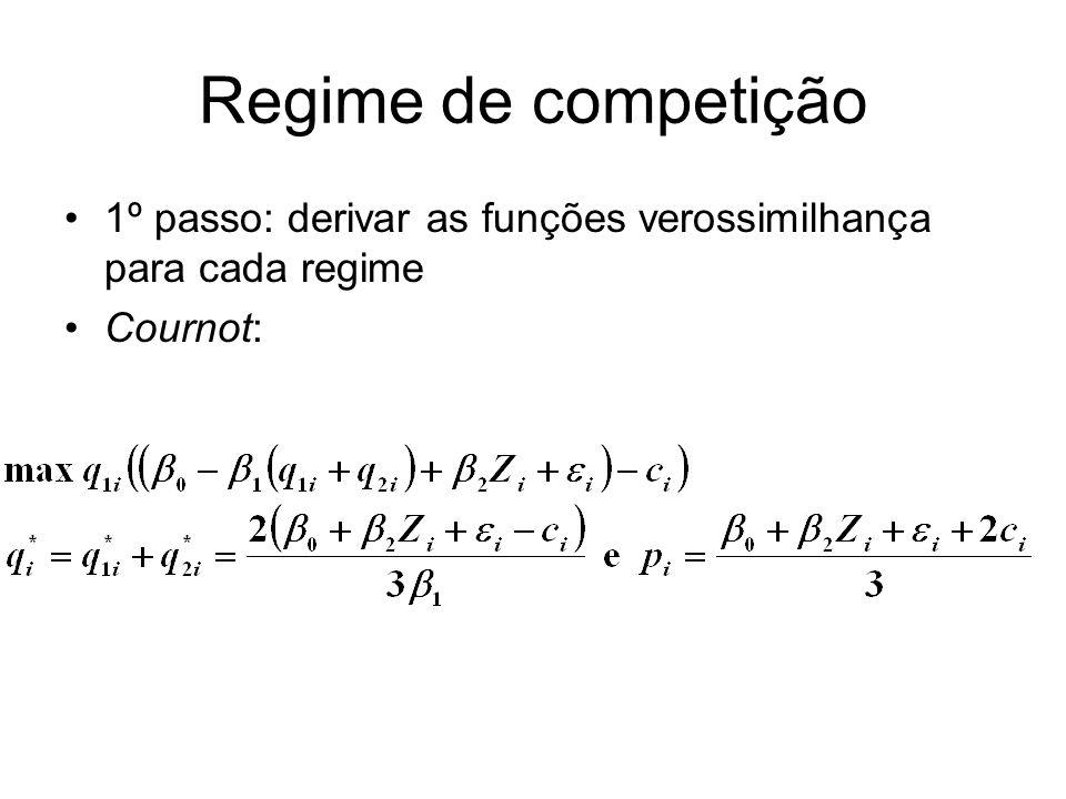 Regime de competição 1º passo: derivar as funções verossimilhança para cada regime Cournot: